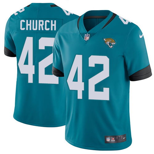 Nike Jaguars #42 Barry Church Teal Green Team Color Men's Stitched NFL Vapor Untouchable Limited Jersey